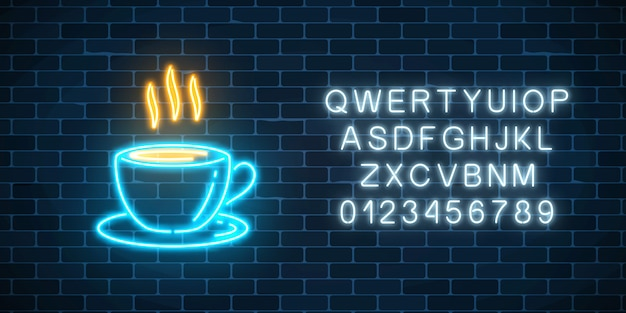 Glowing neon coffee cup with alphabet