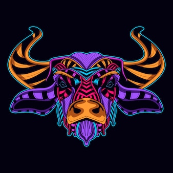 Glowing neon color of bull
