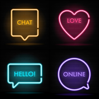 Glowing neon different form speech bubbles on dark brick wall backdrop. modern illustration. neon light banners set with lettering. electric dialog window with bright neon lights.