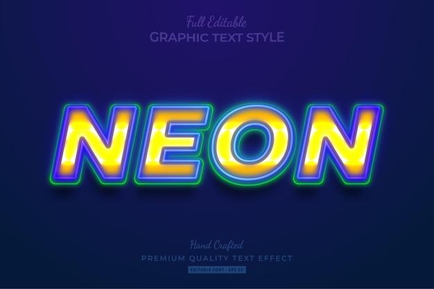 빛나는 네온 편집 가능한 텍스트 효과 글꼴 스타일