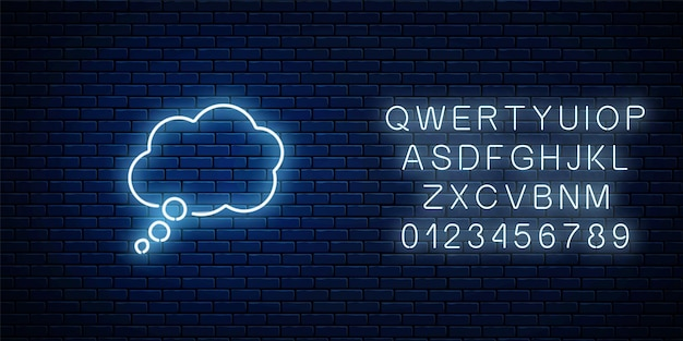Glowing neon empty thought bubble frame with alphabet. cloud blank speech bubble in neon style on dark brick wall background. vector illustration.