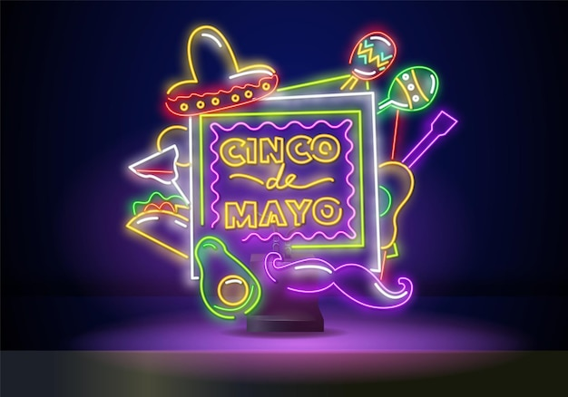 Glowing neon fiesta holiday sign on dark brick wall background. mexican festival flyer design with guitar, maracas, sombrero hat and cactus. vector illustration.