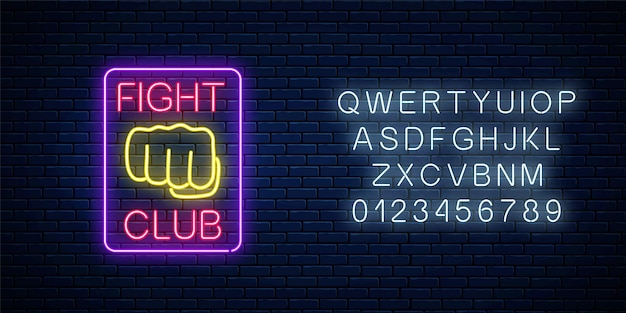 Glowing neon fighting club sign with alphabet on brick wall background.