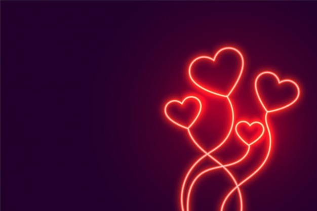 Glowing neon flying hearts banner