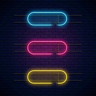 Glowing neon frames. neon light banners set.
