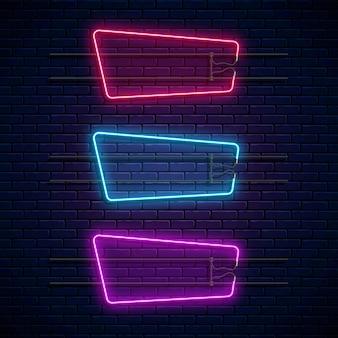 輝くネオンの幾何学的なフレーム。ネオンライトセット。リアルなグロー看板。