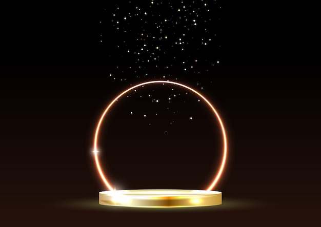 Glowing neon golden circle with sparkles in fog on gold podium