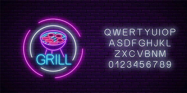 Glowing neon grill sign in circle frames with alphabet on dark brick wall background. barbecue cafe advertising night street symbol. vector illustration.