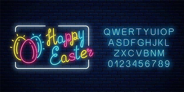 Glowing neon happy easter signboard with eggs and alphabet on dark brick wall background.