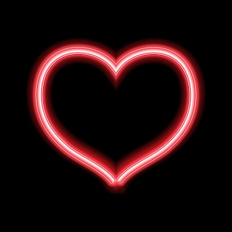 Glowing neon heart design for valentines day