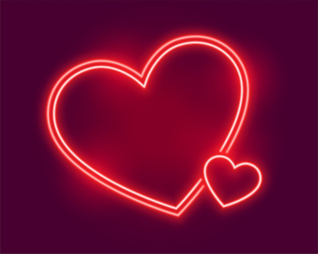 Glowing neon hearts greeting for valentines day
