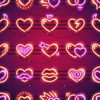 Glowing neon hearts seamless background