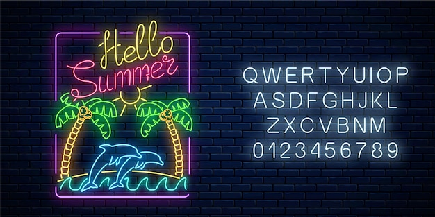 Glowing neon hello summer sign with palms