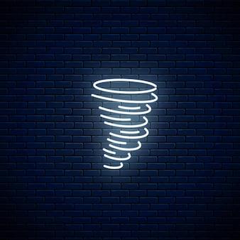 輝くネオンハリケーン天気アイコン。モバイルアプリケーションの天気予報にネオンスタイルの嵐のシンボル。