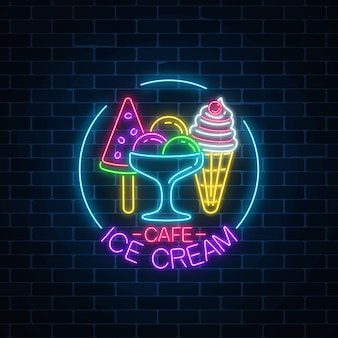 Glowing neon ice cream cafe signboard in circle frame on dark brick wall background. fruit cone and watermelon ice-cream