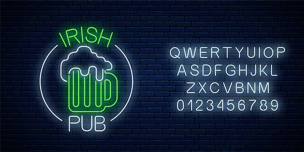 Glowing neon irish pub signboard in circle frame with alphabet on dark brick wall