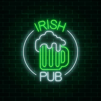 Glowing neon irish pub signboard in circle frame with text on dark brick wall background.