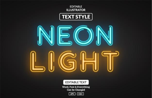 Светящийся стиль неонового света, редактируемый текстовый эффект