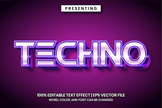 Glowing neon light style text effect
