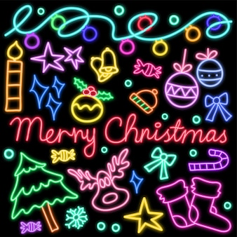 Glowing neon lights doodle pattern for christmas celebrations.