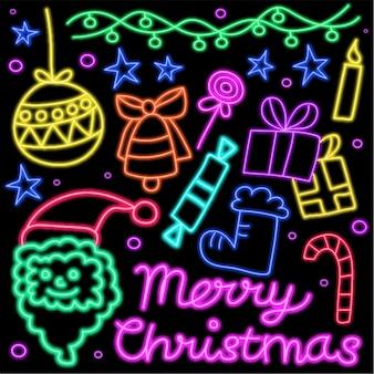 クリスマスのお祝いのために、光るネオンライトの模様を描きます。