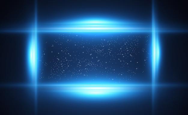 Светящиеся неоновые линии на прозрачном фоне. абстрактный цифровой дизайн.