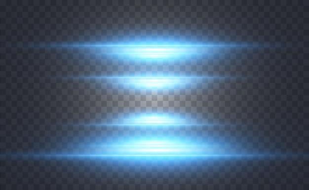 透明な背景に輝くネオンライン抽象的なデジタルデザイン