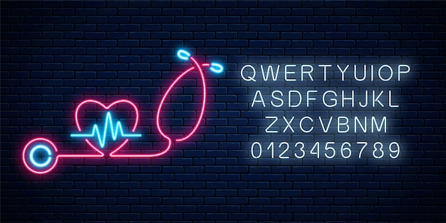 Glowing neon medicine concept sign with cardiogram graph in heart shape and stethoscope. drugstore or hospital luminous advertising signboard with alphabet