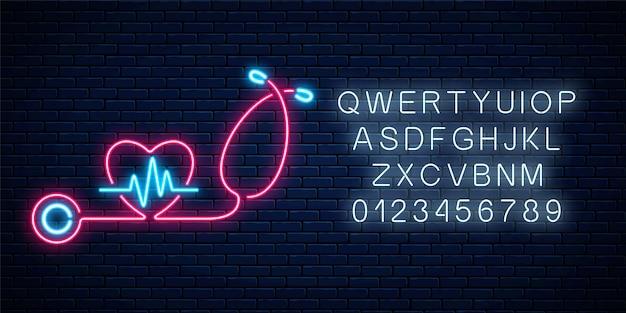 Светящийся неоновый знак концепции медицины с графиком кардиограммы в форме сердца и стетоскопом. светящаяся рекламная вывеска аптеки или больницы с алфавитом