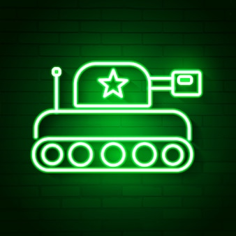 Glowing neon military tank icon isolated on brick wall