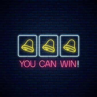 Glowing neon motivation phrase with three bells on slot machine. slot machine win combination with bell and text in neon style. Premium Vector