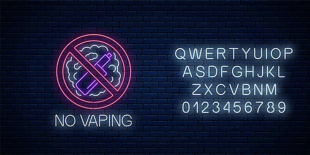 Glowing neon no vaping sign with alphabet on dark brick wall background. vape free area symbol. signboard of no smoking place. vector illustration.