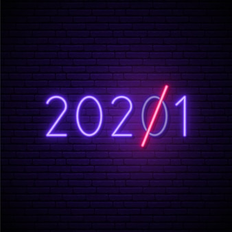 Glowing neon number 2021.