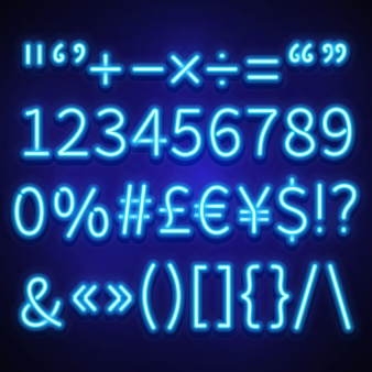 Glowing neon numbers, text symbols and currency signs typeset, font.