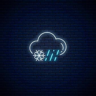輝くネオンの雨と雪の天気のアイコン。天気予報にネオンスタイルの雲と雨と雪のシンボル