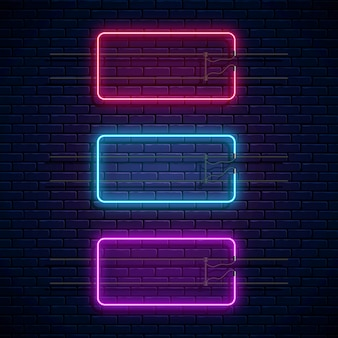 Glowing neon rectangle frames. neon light banners set. realistic glowing borders for empty place.