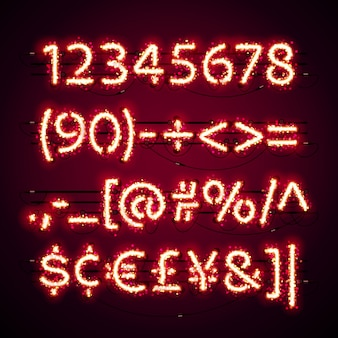 Glowing neon red numbers with glitter on dark