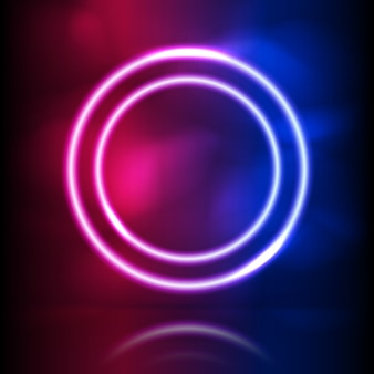 Glowing neon round frame. glowing lighting and smoke loops. pink blue spectrum vibrant colors, laser show