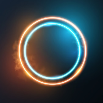 Glowing neon round frame.