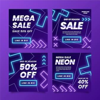 Set di post di instagram di vendita al neon incandescente Vettore gratuito