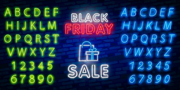 Glowing neon sign of black friday sale in rectangle frame with shopping symbols