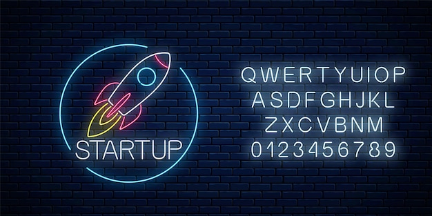 Glowing neon sign of business project startup in circle frame with alphabet on dark brick wall background. business fast start symbol as a flying rocket in neon style. vector illustration.