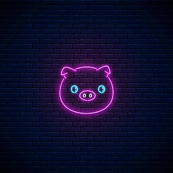 Glowing neon sign of cute pig in kawaii style on dark brick wall background. cartoon happy smiling piggy in neon style. vector illustration.