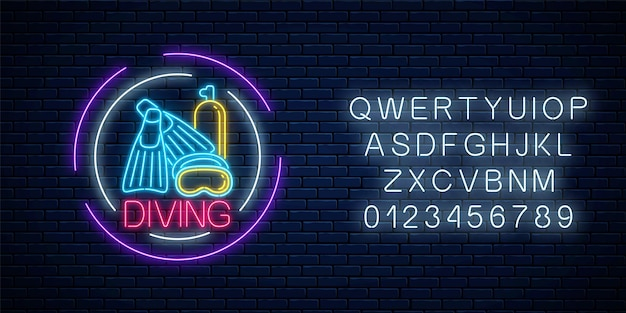 Glowing neon sign of diving beach club with flipers, mask and balloon symbols in circle frames with alphabet