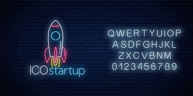 Glowing neon sign of ico project startup with alphabet on dark brick wall background. business fast start symbol as a flying rocket in neon style. vector illustration.