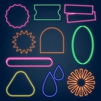輝くネオンサインイラストベクトルセット
