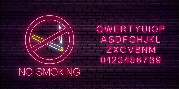 Glowing neon sign no smoking with alphabet on dark brick wall of nightclub or bar. ban on cigarettes