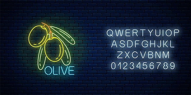 Glowing neon sign of olive branch with leaves with alphabet on dark brick wall background. natural organic food symbol with green olives. vector illustration.