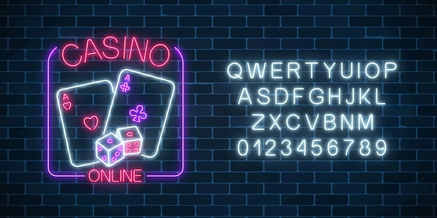 Glowing neon sign of online casino application in rectangle frame with alphabet.