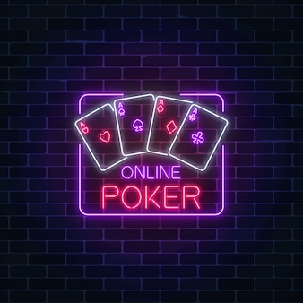 Glowing neon sign of online poker application in rectangle frame casino bright signboard.
